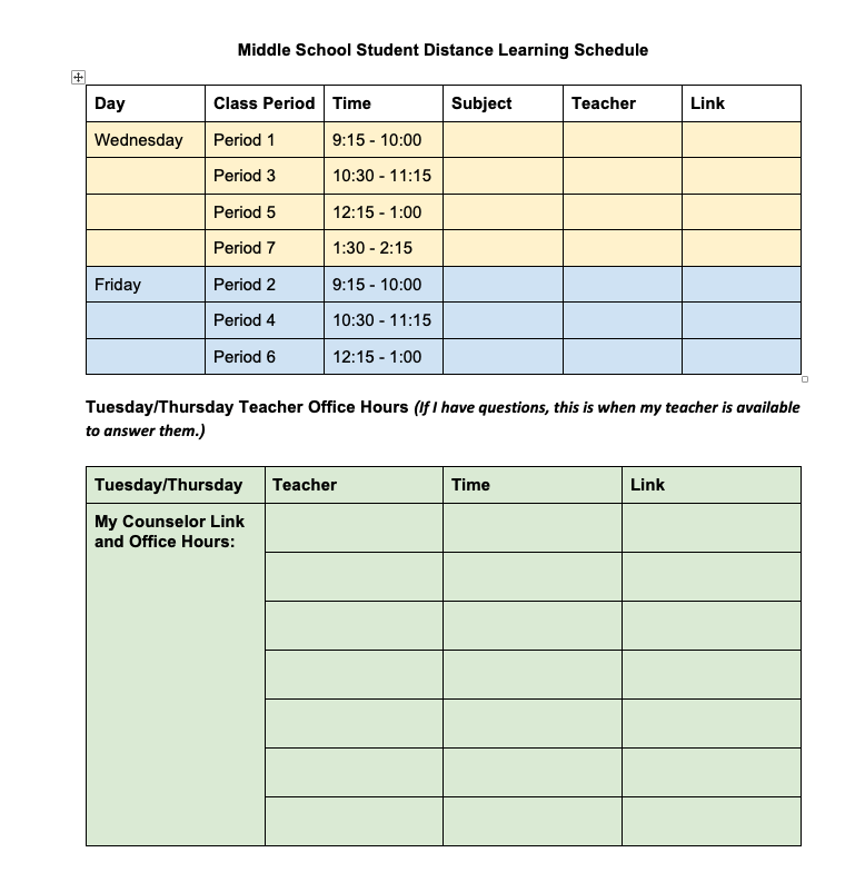 Sample Schedule for Distance Learning